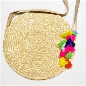 Circular Straw Bag With Tassels